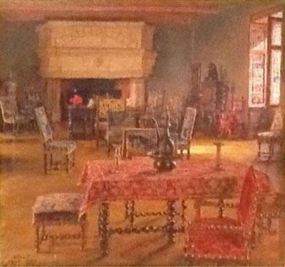 Le grand salon du château de Nieul, hst d'A.Roubtzoff collection particulière
