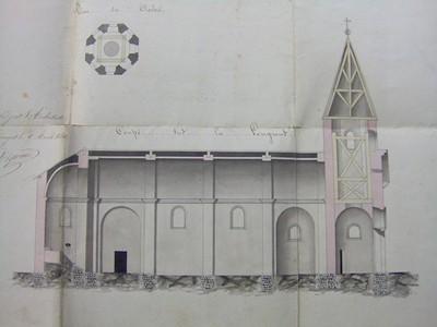 Plan de l'église deNantiat,ADHV