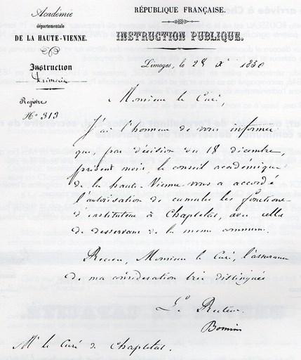 Arrêté d'institution du 16 juillet 1848, in Le Curé de Chaptelat et son oeuvre pédagogique, 1993, page 4