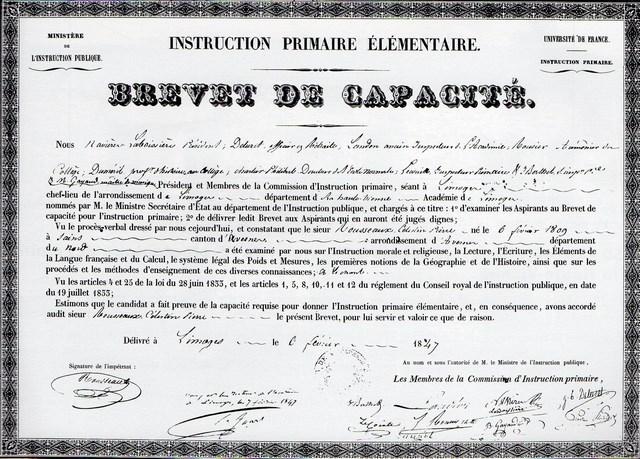 Brevet de capacité de Pierre-Célestin Rousseau, in Le Curé de Chaptelat et son oeuvre pédagogique, 1993, page 3