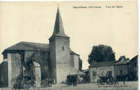 CPA église de Peyrilhac, Collection privée.